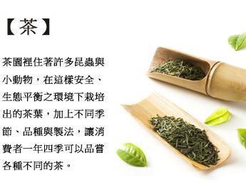茶園裡住著許多昆蟲與小動物,在這樣安全、生態平衡之環境下栽培出的茶葉,加上不同季節、品種與製法,讓消費者一年四季可以品嘗各種不同的茶